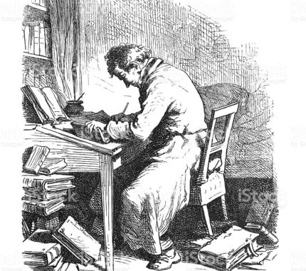 Steel engraving Eremite writer poet writing a book  from 1876 Original edition from my own archives. Source : Fliegende Blätter 1876
